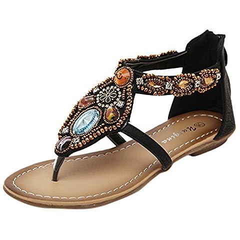 Oasap Women's Bohemian Bead Flat Back Zip Thong Sandals, Black EURO36/US5/UK3