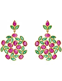 Gehna 18KT Yellow Gold, Ruby and Emerald Drop Earrings for Women