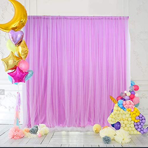 HBBMagic Tüll Hintergrund/Vorhäng Violett 150 cm*213 cm,Chiffon Foto Hintergrund für Fotostudio,Hochzeit,Geburtstag,Party,Baby Shower,Weihnachten