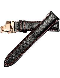 22 millimetri super sottile cinturino nero cinturino di ricambio di qualità per il grano in vera pelle in fibra di carbonio uomini