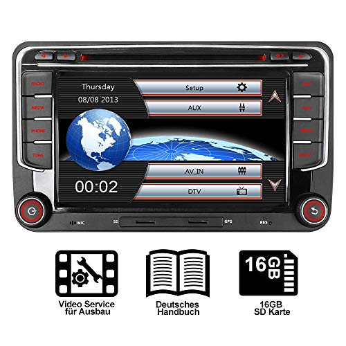 "16GB SD Karte 7"" AUTORADIO DVD GPS Für VW Golf 5/6,Passat,Tiguan,Polo,Jetta,Skoda Fabia, Octavia,Yeti, Seat Leon,Touran,Candy, Sharan,EOS, DAB+ VMCD Mirrorlink GPS Navigation USB SD BT 7 LED"