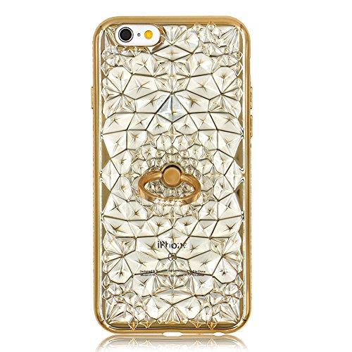 Bling Placage Coque en Silicone pour iPhone 6S Plus, Herzzer Luxe Diamant Strass Étui Housse pour iPhone 6 Plus Crystal Fleur Motif Design Ultra Mince Flex Soft Transparente TPU Case Cover avec 360 De Or