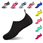 IceUnicorn Water Shoes Mens Womens Outdoor Swim Barefoot Socks Skin Shoes for Beach Running Snorkeling Surfing Diving Yoga Exercise(Striped Black,36/37EU)