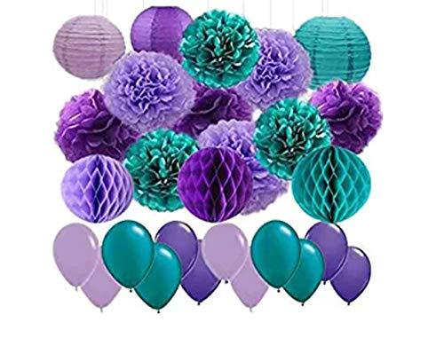 frauen-Party-Dekoration, 45 Stück, Blaugrün, Lavendel, Violett, Seidenpapier, Laternen, Papier-Wabenbälle und Latexballon, Hochzeit, Babyparty, Geburtstagsparty. ()