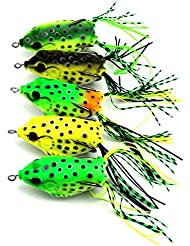 Hrph 5Pcs Soft Plastic Fishing lures Frog lure With Hook Top Water 6.5CM 13G Artificial Fish Tackle