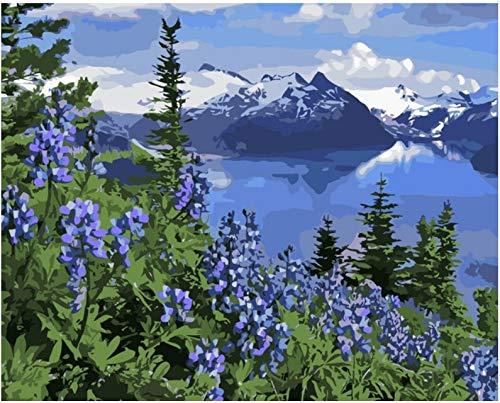 Gyhjnk Malen Nach Zahlen Landschaft Berge Blumen Auf Leinwand