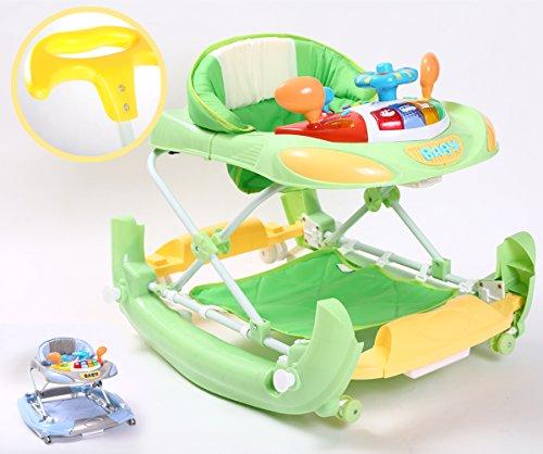 Kidmeister Gehfrei Baby Walker Lauflernhilfe mit Schiebestange Musik Spielstation, Schaukelfunktion (Grün) -