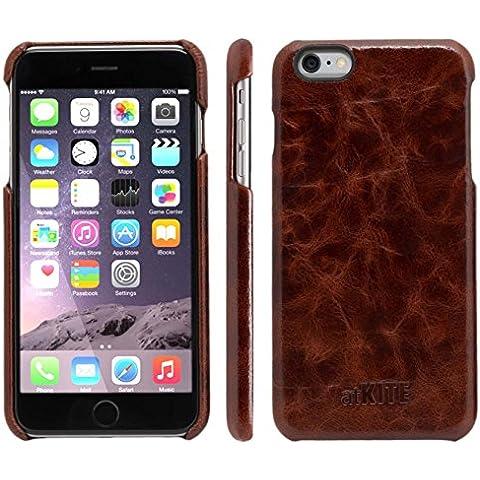 atKITE - Funda de piel auténtica para iPhone 6 Plus / 6S Plus - Funda trasera - Café