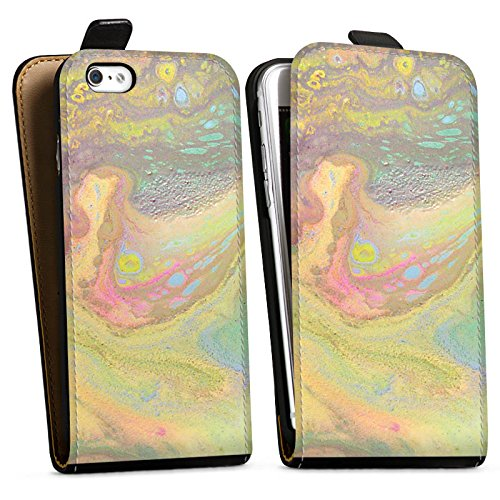 Apple iPhone 8 Silikon Hülle Case Schutzhülle Perlmutt Muster Wasserfarbe Downflip Tasche schwarz