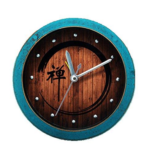 Hxfbyqrjh 5 Pulgadas Retro Zen Palabra Reloj De Madera Redonda Vintage Escritorio Creativo Reloj Silencioso...