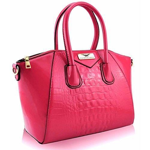 Zarla-Borsa in pelle sintetica da donna a tracolla, coccodrillo, a tracolla Rosa (rosa)