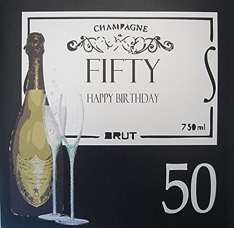 White Cotton Cards Large XBA50 cinquante Happy Birthday Carte 50e anniversaire faite à la main
