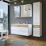 Badmöbel Set GALAXY 120 mit Doppelwaschbecken (komplettes Badmöbel Set, WEISS HOCHGLANZ / EICHE...