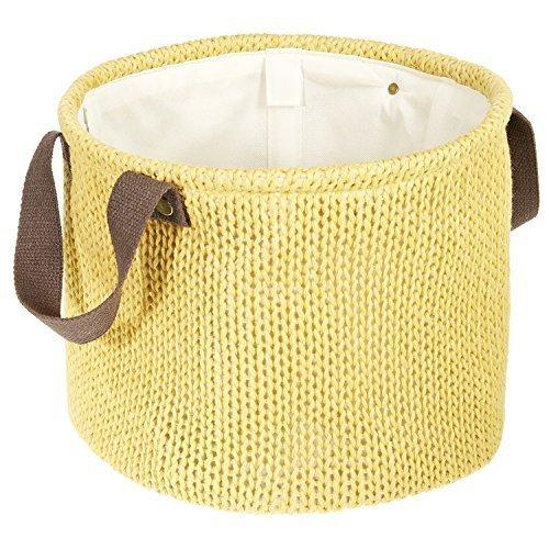 LOMOS® Dekorativer Korb in Strick-Optik mit zwei Henkeln in gelb (H 25cm/B 29cm)