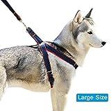 Lifepul Leine Brustgeschirr Hundegeschirr Sicherheitsgeschirr für Haustiere Hunde Einziehbar Verstellbare Haustier Nylon Leine Softgeschirr für Training und Spazieren,L Size