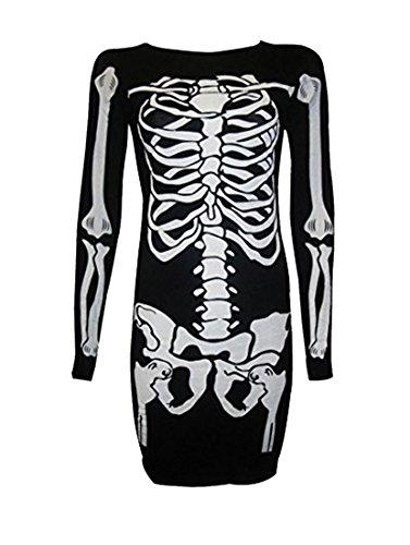 Janisramone Frauen Skelett Halloween Knochen Drucken Bodycon Tunika Kleid (Skelett Elasthan Kostüme)