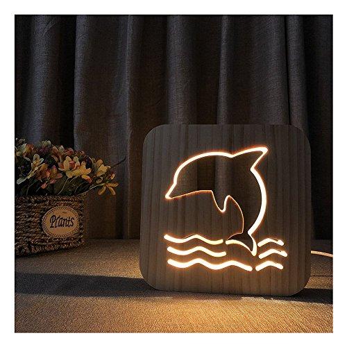 Erwa Dolphin Lamp Tischlampen LED Holz Nachtlicht Kleine Tische Für Bett Zimmer USB Nachtlicht Neuheit 3D Nachtlicht Warmes Licht