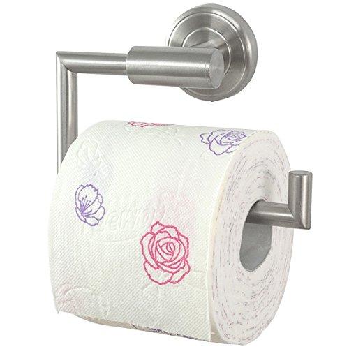 Badserie Ambiente - Toilettenpapierhalter, WC-Rollenhalter, Klopapierhalter aus robustem, hochwertigem Edelstahl matt - zur Wandmontage