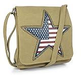 Canvas Schultertasche Amerika Stern Stars Khaki