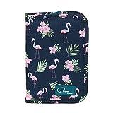 Tuscall Reiseorganizer Mappe Passport Brieftasche Reisedokumente Abdeckung Kreditkarten Halter Bargeldvorrat Veranstalter Aufbewahrungstasche mit Reißverschluss-Fächern - Flamingo (Print #2)
