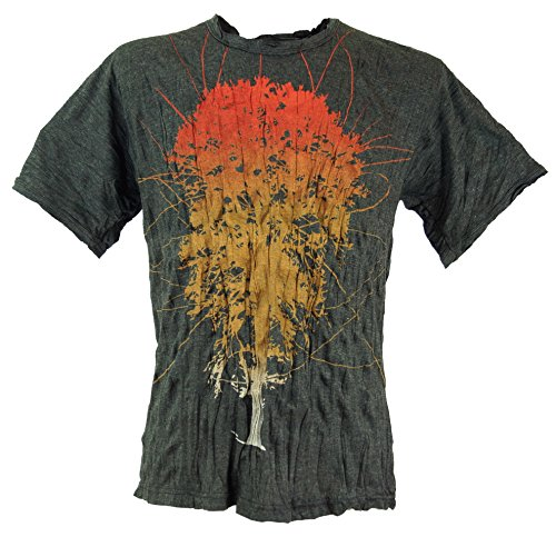 GURU-SHOP, Camiseta Pura Árbol de la Vida, Antracita, Algodón, Tamaño:L, Camisetas Seguras