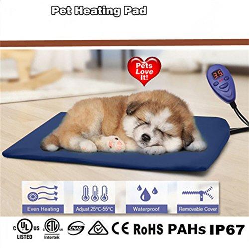 Cozywind Mascota Almohadilla Eléctrica Alfombrillas de Calefacción para Perros y Gato Impermeable Mantas de Cama Resistente a la Masticación 7 Niveles de Temperatura Ajustable Color Azul