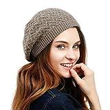 JULY SHEEP Cappello basco da donna, fatto a maglia intrecciata in lana merino, basco francese invernale e autunnale a tinta unita Dark Khaki Taglia unica