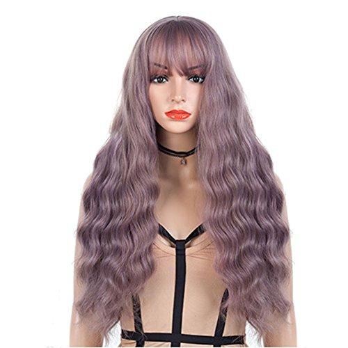 SHUAIGE Perücken Europa und die Vereinigten Staaten Frauen Kopfbedeckungen Lila Lange Lockige Haare Mais Heiße Chemische Faser Wellenmuster Urlaubsparty Cosplay Perücke 80 cm * ()