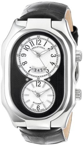 Philip Stein - 12A-BW-AB - Montre Mixte - Automatique Analogique - Cadran Blanc - Bracelet Cuir Noir