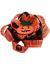 Halloween Clips de pelo del cocodrilo de arco de Grosgrain, con Clips de hierro y Calabaza, Platino, rojo naranja, 107x107mm