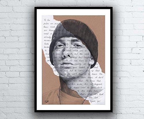 Eminem Portrait Drawing - Giclée art print with Lose Yourself Lyrics Background - Kunstdruck A5 A4...