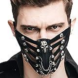 Dromensho Cuero de LA PU Steampunk Cráneo Motocicleta Biker Hockey Sobre Hielo Ciclismo Rivet Máscara de Mascarada Máscara de Invierno Mascarilla para Hombres, Mujeres (Color : Style1)