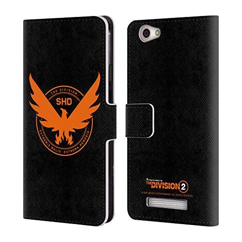 Head Case Designs Offizielle Tom Clancy's The Division 2 Phoenix Logo Kunst Leder Brieftaschen Huelle kompatibel mit Wileyfox Spark X