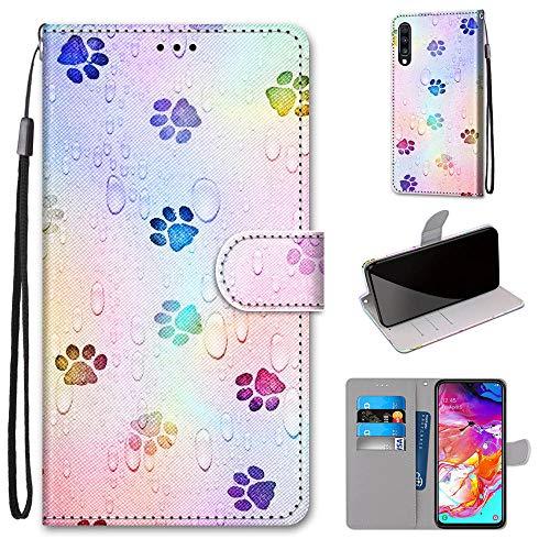 Miagon Flip PU Leder Schutzhülle für Samsung Galaxy A70,Bunt Muster Hülle Brieftasche Case Cover Ständer mit Kartenfächer Trageschlaufe,Fußabdruck