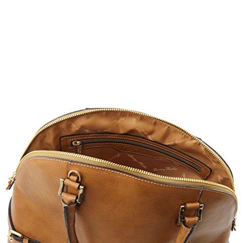 Tuscany Leather TL Bag - Sac à main en cuir avec boucles Taupe foncé Sacs à main en cuir Rouge