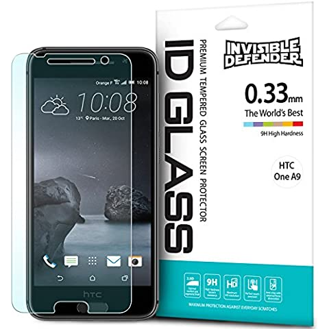 Protector de Pantalla HTC One A9, Invisible Defender Glass [MAX HD CLARIDAD] HTC One A9 vidrio protector de Pantalla Garantía de por vida Perfect Touch de precisión de alta definición (HD) Claridad película el para HTC One A9