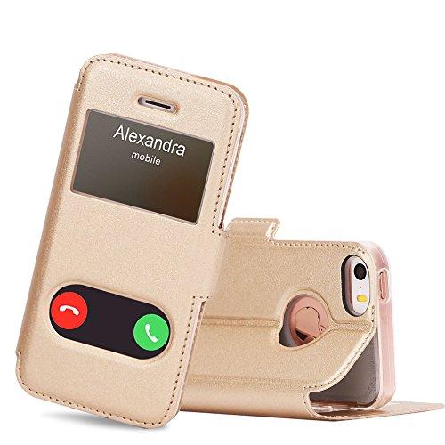 FYY Coque iPhone Se, Coque iPhone 5S, Coque iPhone 5, Housse Magnetique Smart View avec Fenêtre d'Ouverture pour Apple iPhone SE/5S/5 Or