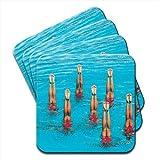 Sincronizzato per nuotatori in a Set di formazione gambe 4 sottobicchieri in legno