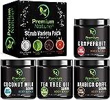 Premium Nature Body Scrubs Geschenk Auswahl 4 Pack 6 Oz, Grapefruit, Kaffee, Tea Tree Oil & Kokosmilch Peeling