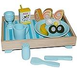 Unbekannt 16 TLG. Set Frühstück Tablett und Teller Tasse Gabel Milch Eierbecher Brot