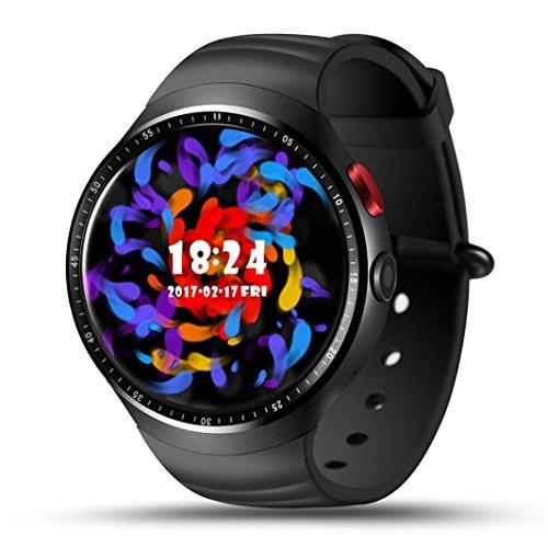 Lemfo Les1 Smartwatch, 4,4 cm, Herzfrequenz, Schrittzähler, SIM-Karte, GPS, Kamera, MTK6580 1,3 GHz Quad Core, 1 GB RAM, 16 GB ROM, Android 5.1, Bluetooth, 3G, WiFi, ETC) für Android iPhone, Schwarz