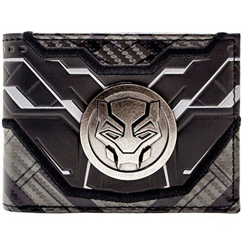Marvel Black Panther maskiertes Metallabzeichen Silber Portemonnaie Geldbörse