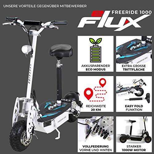 E-Scooter Roller Original E-Flux Freeride 1000 Watt 48 V mit Licht und Freilauf Elektroroller E-Roller in vielen Farben (weiß) - 2