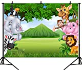 DePhoto 9X6FT (270X180CM) Dessin Animé Jungle Safari À Thème Animaux Partie sans Couture Vinyle Photographie Toile de Fond Photo Fond Studio Prop PGT157B