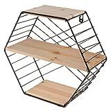 F Fityle Instalación Sencilla Estantes De Pared con Forma Hexagonal, Blanco/Negro - Negro