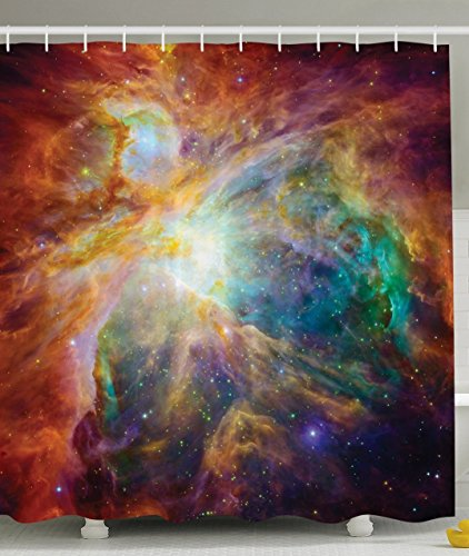 PETGOOD Duschvorhang Universum Abstrakt Nebel Galaxy Chakra Unendlichkeit Psychedelisch-Fotografie-Druck Bunte viele schöne Duschvorhänge zur Auswahl, hochwertige Qualität, Wasserdicht, Anti-Schimmel-Effekt 180 x 200 cm (Camo Löwen)