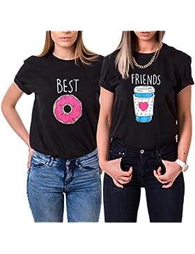 Mejores Amigas Camiseta 2 T-Shirt Best Friends Dibujos Animados Catoon 100% Algodón 2 Piezas Par Manga Corta Impresión...