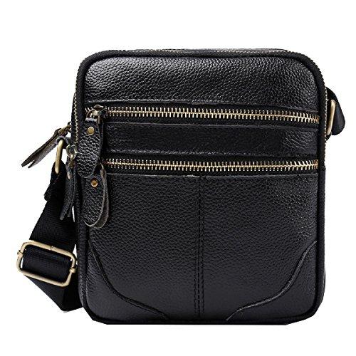 Yy.f Große Lederbote Männer Tasche Erste Schicht Aus Leder Mann Tasche Sporttaschen Sonnig Männer Frauen Kosmetik-Taschen Black