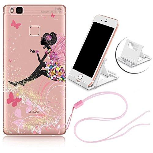 e Hülle, Crystal Transparent TPU Silikon Case Cover Handyhülle für Huawei P9 Lite Schutzhülle Ultradünne Durchsichtig Weich Handy Schutz Tasche Bumper mit Handyhalter Blumen Engel ()