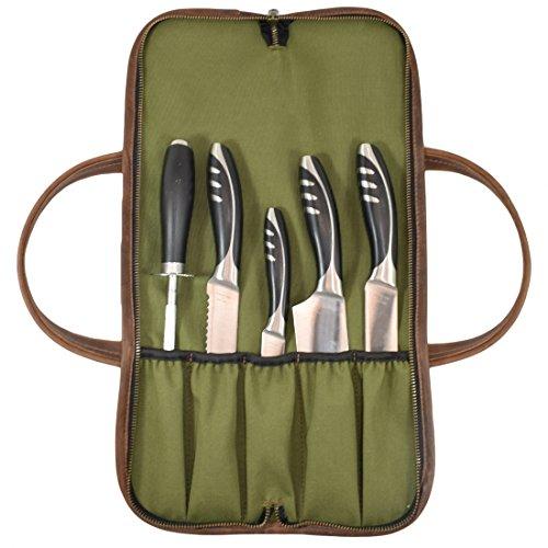 Leder Allzweck Messer Rolle mit wasserabweisendem Segeltuch Futter/Reißverschluss Sicher Schließen/Leder Griff handgefertigt von Hide und Drink Professional Knife Roll